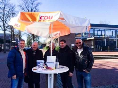 Marktstand mit der CDU Munster, Februar 2019